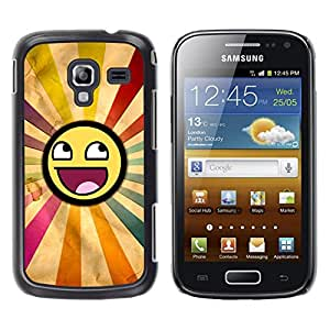 KOKO CASE / Samsung Galaxy Ace 2 I8160 Ace II X S7560M / sonriente sol arco iris arte lgbt simbólica / Delgado Negro Plástico caso cubierta Shell Armor Funda Case Cover