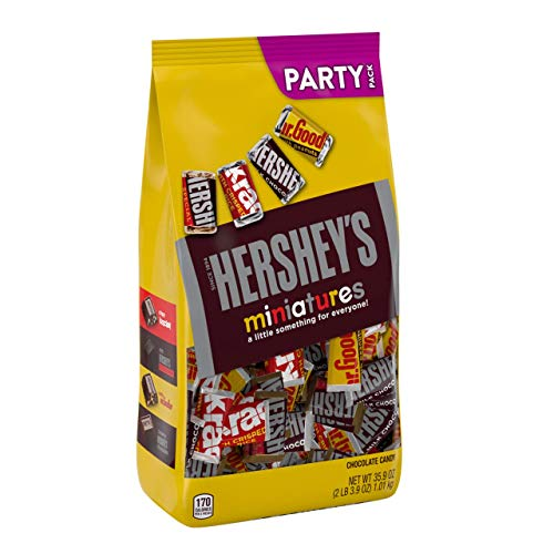 HERSHEY'S Miniatures Chocolate Candy Assortment, Party Bag 2lbs (Mini Chocolate Bars)