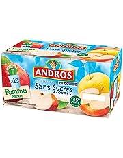 ANDROS Compotes de Pommes en gourdes Sans sucres ajoutés 18x90g