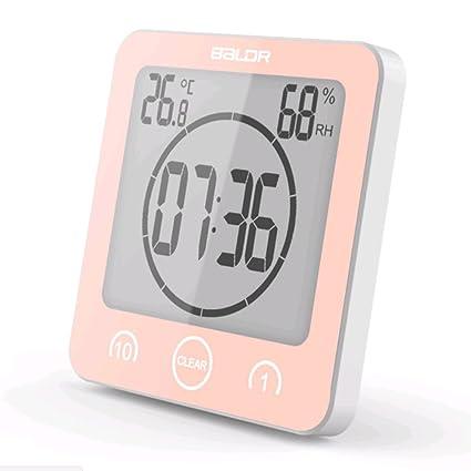 Reloj digital de cuenta regresiva temporizador alarma impermeable cocina cronómetro humedad termómetro ventosa taza de baño