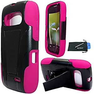 For ZTE Z432 (AT&T) Hybrid Y Stand Cover Case with Stylus Pen and ApexGears (TM) Phone Bag. Black Pink
