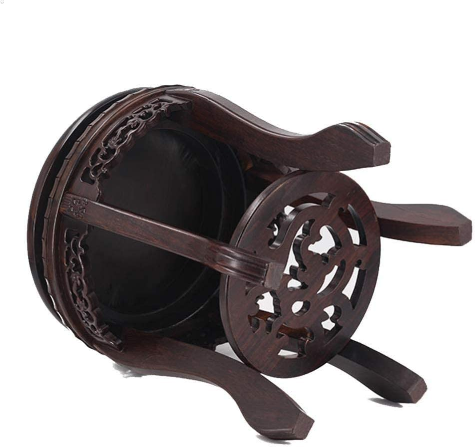 Alianfrwe Hocker Aus Holz Runder Sitzhocker - Vintage Holz Home Adult Mahagoni Trommel Hocker-Runde Trommel Tigerfuß
