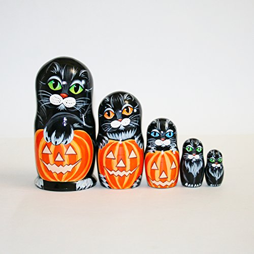 Art-Ross Nesting Doll Cats Halloween pumpki - Completely Handmade Matryoshka 7