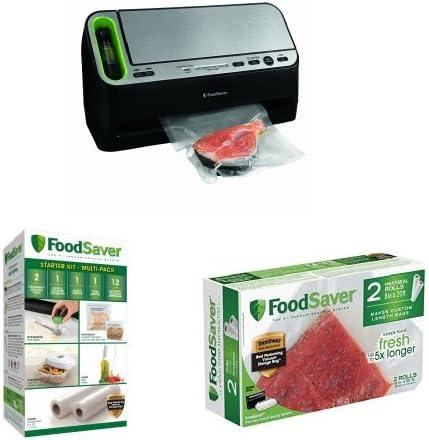 FoodSaver Accessory Starter Kit FoodSaver 2-pack 8x20 Heat Seal Rolls Bundle FoodSaver 2-in-1 Fridge and Freezer Preservation System Stainless Steel//Black V4400 Automatic Vacuum Sealer