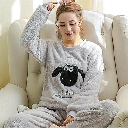 MH-RITA Otoño Invierno Mujer Pijama establece Pijama dormir Palo grueso camisón de franela Coral