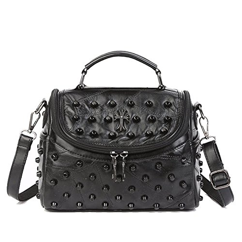 (Black Rivet Sheepskip Handbag Genuine Leather Bag Woman Luxury Handbags Women Bags Designer Brand Famous Shoulder Bag)