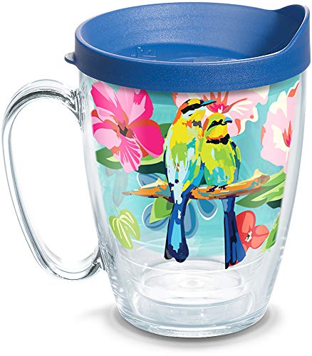 (Tervis 1316178 Bright Bird Pattern Insulated Tumbler with Wrap and Lid, 16 oz Mug - Tritan, Clear)