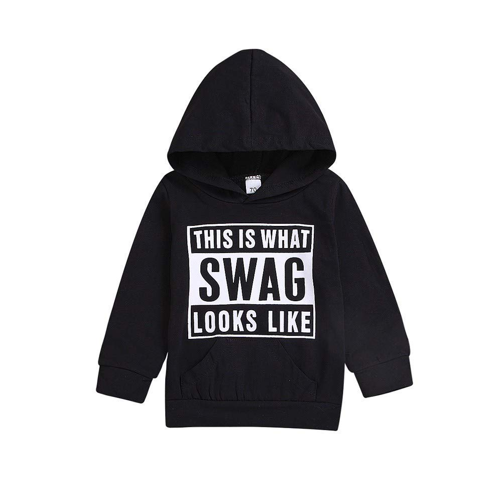 Children Kids Boys Girls Long Sleeves Letter Hooded Sweatshirt Top Clothes
