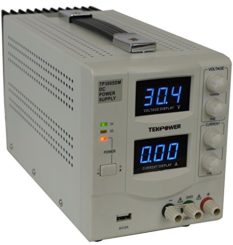 TekPower TP3005DM Linear Adjustable Digital DC Power Supply 30V 5A with a 5V/2A USB Port,Lab Grade, Super Clean and Quiet by Tekpower (Image #1)