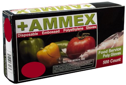 AMMEX - PGLOVE-M-500-CS - Poly Gloves - Disposable, Food Service, 1 mil, Medium, Clear (Case of 2000) by Ammex