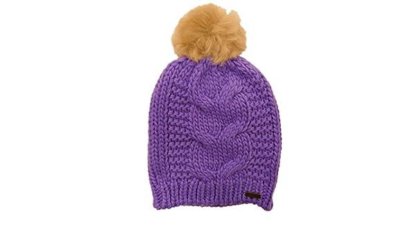 3411b748202a71 Amazon.com: Igloos Womens Purple Cable Knit Beanie Pom Pom Stocking Cap Hat:  Clothing