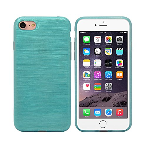 iProtect Apple iPhone 7, iPhone 8 Hülle Soft Case TPU Schutzhülle Brushed Edition Blau
