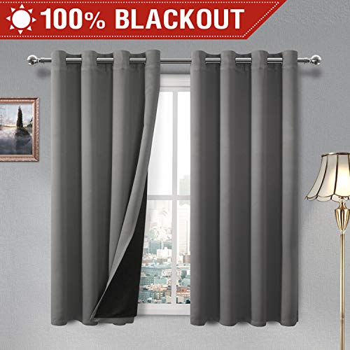 DWCN Total Blackout Curtains - Thermal Insulated, Energy Saving & Noise Reducing Thick Double Layer Drapes for Living Room, Grey, W 52 x L 63 Inch, Set of 2 Grommet Curtain Panels