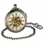Retro Pocket Watch for Mens Wooden Open face Steampunk Skeleton Mechanical with Chain + Box 11