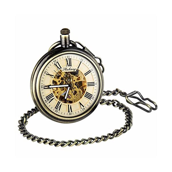 Retro Pocket Watch for Mens Wooden Open face Steampunk Skeleton Mechanical with Chain + Box 5
