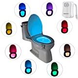 Toilet Nightlight LED Toilet Night Light,Toilet Bowl Light, Motion Sensing Night Light Toilet Lamp- 8 Colors (1 PCS)