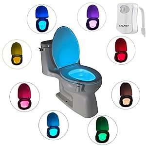 Toilet Nightlight LED Toilet Night Light,Toilet Bowl Light, Motion Sensing Night Light Toilet Lamp- 8 Colors (1 PCS)
