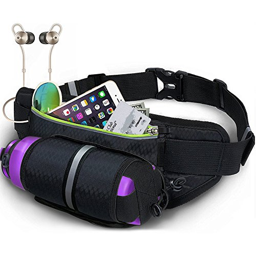 DIGIBIG Waist Bag, Fanny Pack with Bottle Holder for Hiking Cycling, Adjustable Running Belt for Women Men, Water Resistance Waist Pack Fits for iPhone or Samsung Galaxy by DIGIBIG (Image #1)