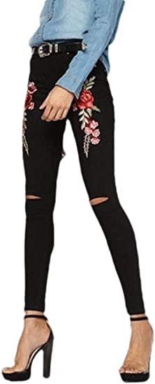 gawaga Women's Juniors Casual High Waist Ripped Skinny Jeans Distressed Denim Pants