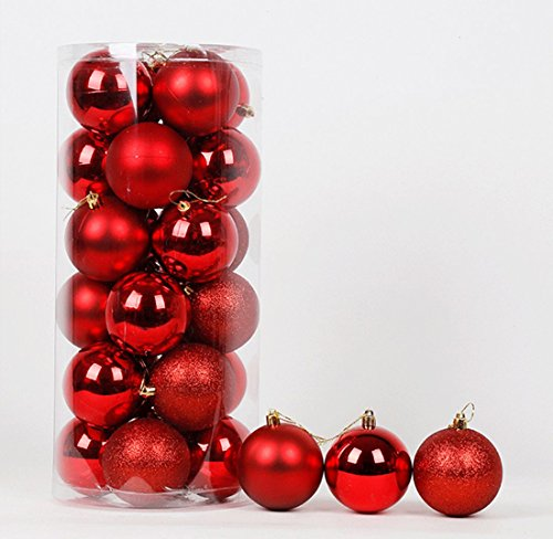 Red Shiny Ball (Windspeed 24pcs Christmas Balls Ornaments, Classic Xmas Trees Wedding Parties Decorations 2.36'' Diameter (Red))