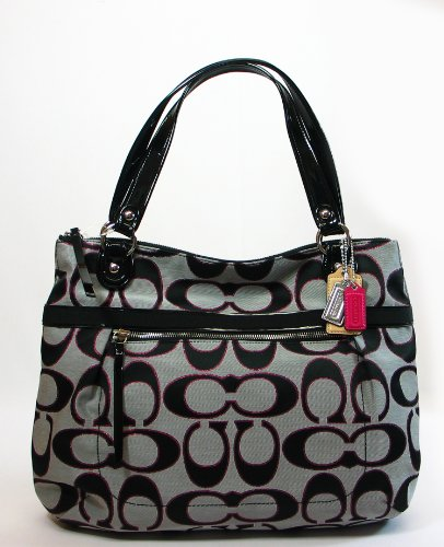NEW AUTHENTIC COACH POPPY SIGNATURE LUREX GLAM TOTE (Moonlight/Pink Scarlet), Bags Central