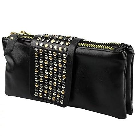 EYX Formula New Women's Leather Handbag Mosaic Rivets Shoulder Day Clutch £¬Fashion Clutch Evening Bag Wallet Purse Wrist Bag for Lady Wimen Girls