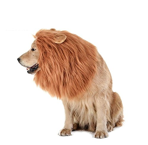 Theeb Lion Mane For Medium to Large Sized Dogs With Ears Plus FREE Lion Tail - SIMBA Lion King Mane For Dogs - Light Brown King of The Jungle Dog Wig For Your Best Friend - Dogs Party Costume by THEEB (Image #2)
