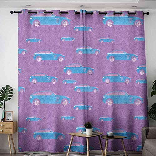 Black Denim Tinted Window - AGONIU Simple Curtains,Cars Blue Automobile on Pink Background Sports Car with Big Wheels and Tinted Windows,Darkening Thermal Insulated Blackout,W72x108L Fuchsia Blue