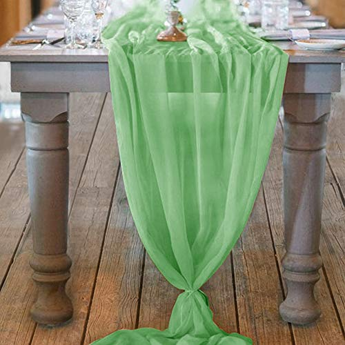 Mixsuperstore Dusty Sage Chiffon Table Runner 29x122 Inches Romantic Wedding Runner Sheer Bridal Party Decorations