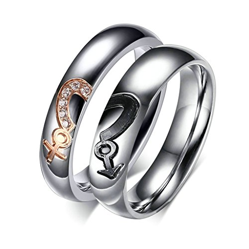 [Aooaz Free Engraving Ring 316L Stainless Steel Ring Women Men Symbol Puzzle Couple Wedding Bands Size] (Paper Bag Princess Couples Costume)