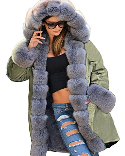 Roiii Army Parka Coat Winter Warm Grey Faux Fur Jacket Womens Hood Parker Plus Size (3X-Large, Amry Green)