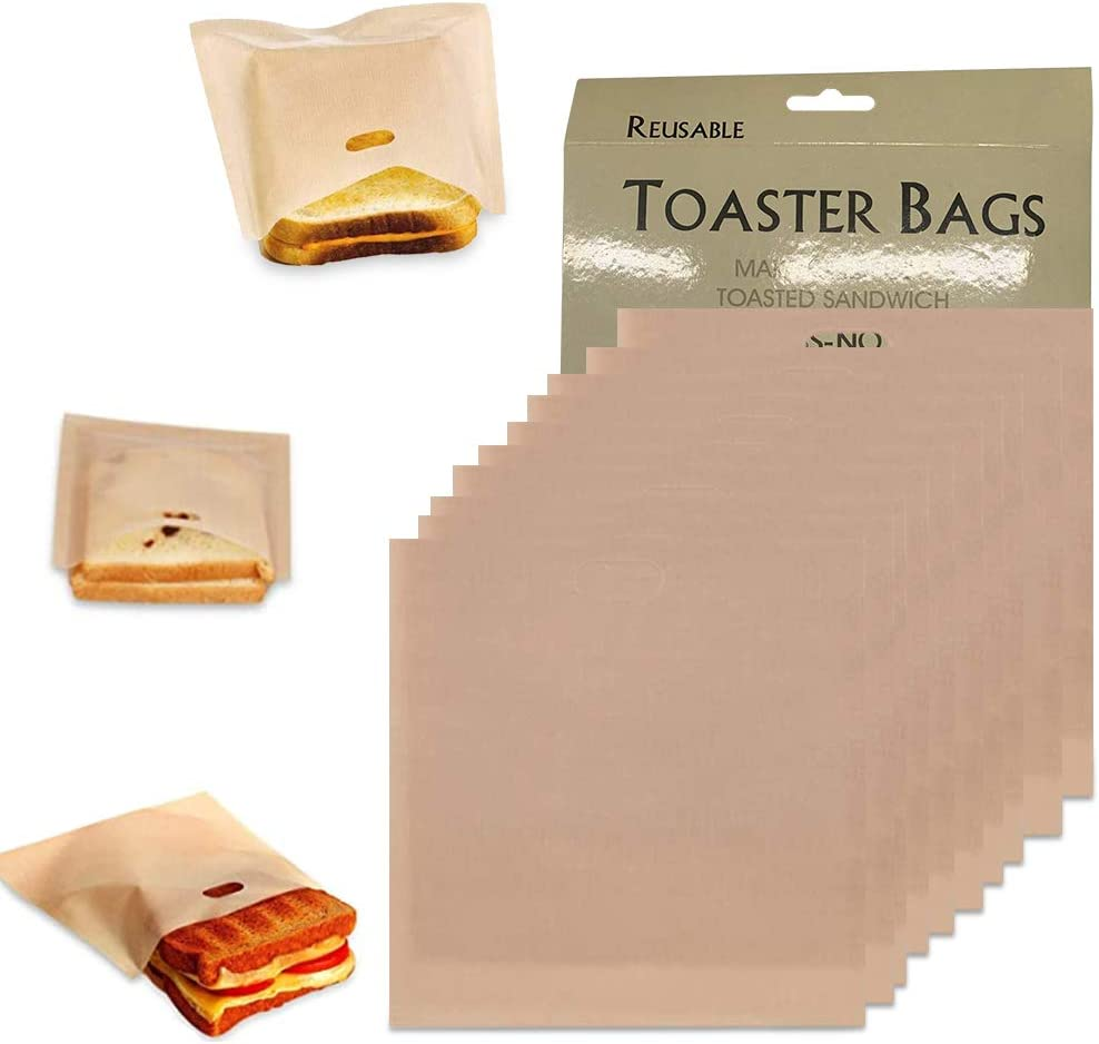Tezam Toaster Bags Reusable for Grilled Cheese Sandwiches | Safest On The Market - 100% BPA & Gluten Free | Non Stick Toast Bag (10PCS)