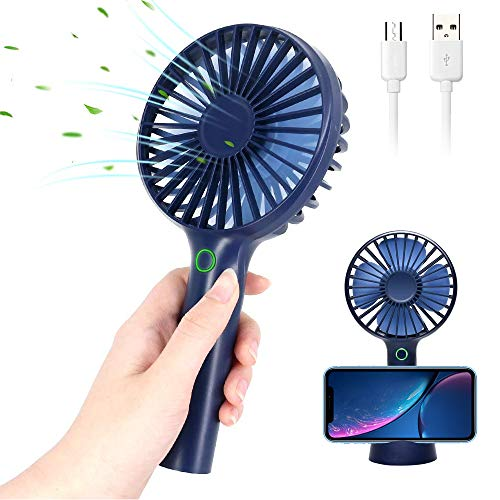 Mini Handheld USB Fan Rechargeable Personal Portable Fan,4 Speeds Battery Operated Desk Fan with Phone Stand Base Powerful Airflow for Office Room Outdoor Traveling