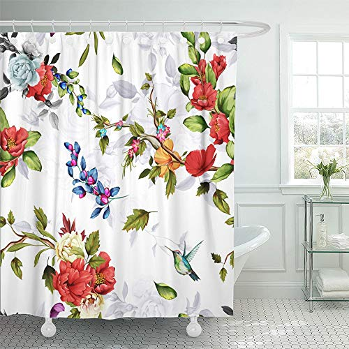 - Emvency Shower Curtain Waterproof Decorative Bathroom 66 x 72 inches Chinese Rose Peony Wild Flowers Pomegranate Buds Poppy and Humming Bird Around Polyester Fabric Set with Hooks