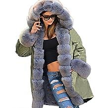 Roiii Army Parka Coat Winter Warm Grey Faux Fur Jacket Womens Hood Parker Plus Size