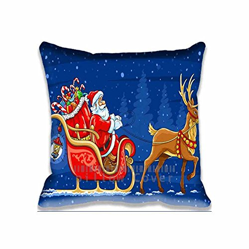 Santa Claus And Reinder On Christmas Personalized New Throw Pillow Covers - Cartoon Design Cotton Sofa Pillow Cases for Couples Customized Cushion Cover (Reinders Santas)