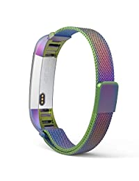 Fitbit Alta HR and Alta Bands, MoKo Milanese Loop Mesh Stainless Steel Smart Watch Strap for Fitbit Alta / Fitbit Alta HR with Unique Magnet Lock, No Buckle Needed, Tracker NOT Included - COLORFUL