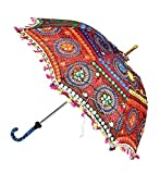 GANESHAM HANDICRAFT- Indian Decorative Handmade Designer Cotton Fashion Multi Colored Beach Umbrella UV Protection Umbrella , Sun Umbrella , Embroidery Boho Parasol Indian Wedding Umbrellas Parasol