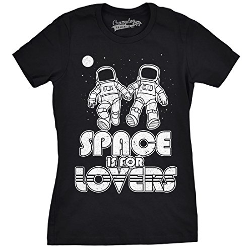 Crazy Dog TShirts - Womens Space Is For Lovers Funny T shirts Cute Love Shirt Astronaut Novelty T shirt - damen -