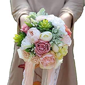 TONGxo Wedding Bouquet Simulation Silk Flowers Bridesmaid Bridal Artificial Bouquets Customization Wedding Holding Bouquet Home Decoration (20cm) 86