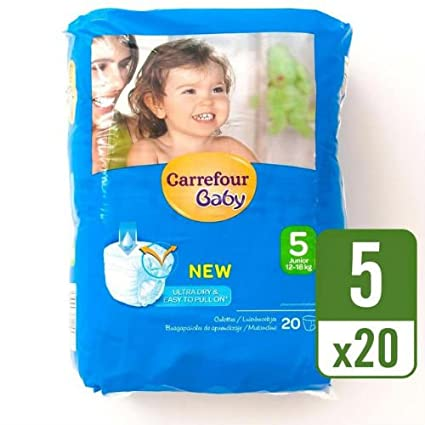 Carrefour bebé Ultra Dry Pull On tamaño 5 Carry Pack 20 por paquete caso de 4