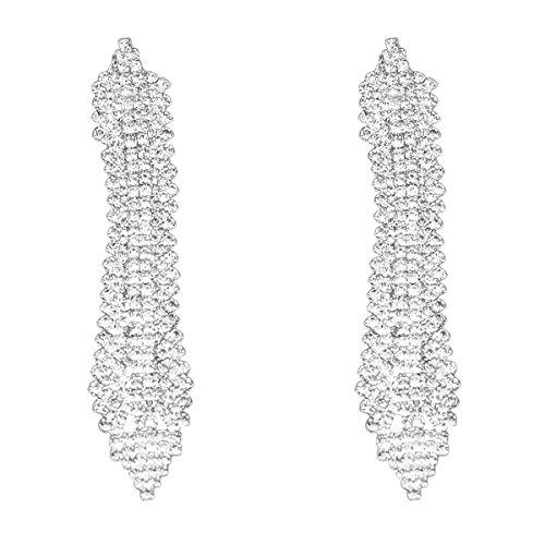 Rhinestone Crystal Chandelier Earrings (CHRAN Womens Silver Plated Crystal Rhinestone Wedding Drop Chandelier Dangle Long Earrings)
