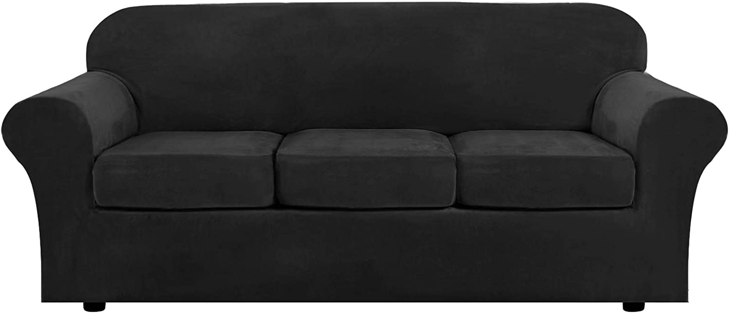 Modern Velvet Plush 4 Piece High Stretch Sofa Slipcover Strap Sofa Cover Furniture Protector Form Fit Luxury Thick Velvet Extra Large Sofa Cover for 3 Cushion Couch(XL Sofa, Black)