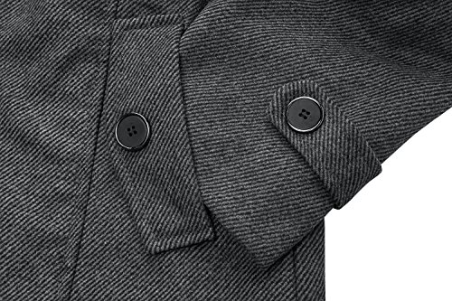 Wantdo Men's Wool Coat Stand Collar Windproof Jacket Overcoat Grey Large by Wantdo (Image #7)