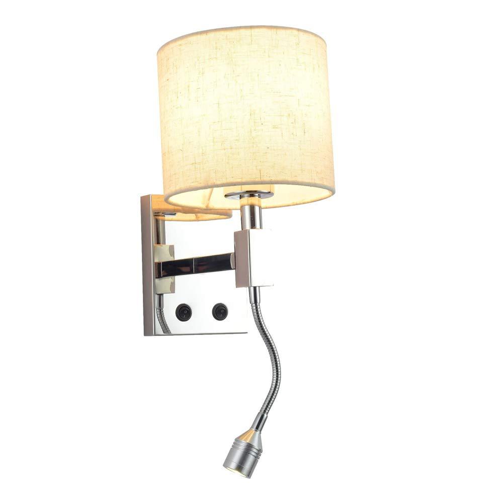 Moderne, polierte Chrom-Lampenleuchte, die Wall-Licht-Fabrik-Lampe mit flexiblen LED-Adjustable Reading Light Round 3W E27 Bulb (ohne Lichtquelle)