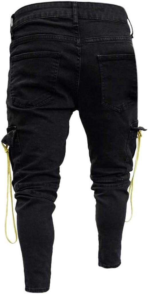 Fashion Jeans Pants,Mens Denim Cotton Solid Straight Pocket Trouser Distressed Jeans Pant