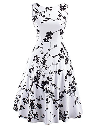 Vestido Sin Mangas de Cuello Redondo Vintage 50S Hepburn Con Estampado de Flores para Mujer Negro