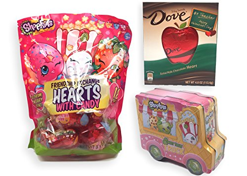 Shopkins Valentines Day Classroom Exchange Hearts with Candy, Tin Gift Truck and Dove Chocolate Teachers Gift