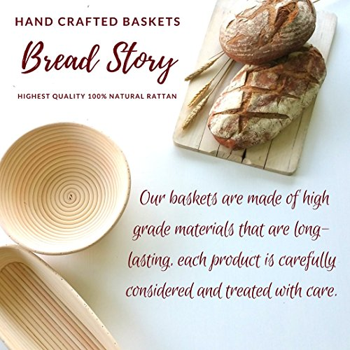 (14x6 inch) Oval Proofing Basket Set by Bread Story– Oval Banneton/Brotform Handmade Unbleached Natural Cane Bread Baking Kit with Cloth Liner - Course Discount, & Coupon by Bread Story (Image #4)