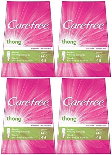 Carefree Thong Pantiliners, Regular Protection, Unscented, 196 Pantiliners (4 X 49 Count Boxes) (Kotex Thong Pantiliners)